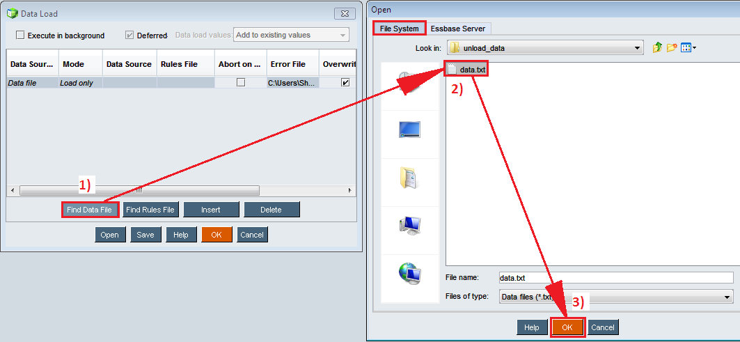 Выбор файла с данными для загрузки в Essbase