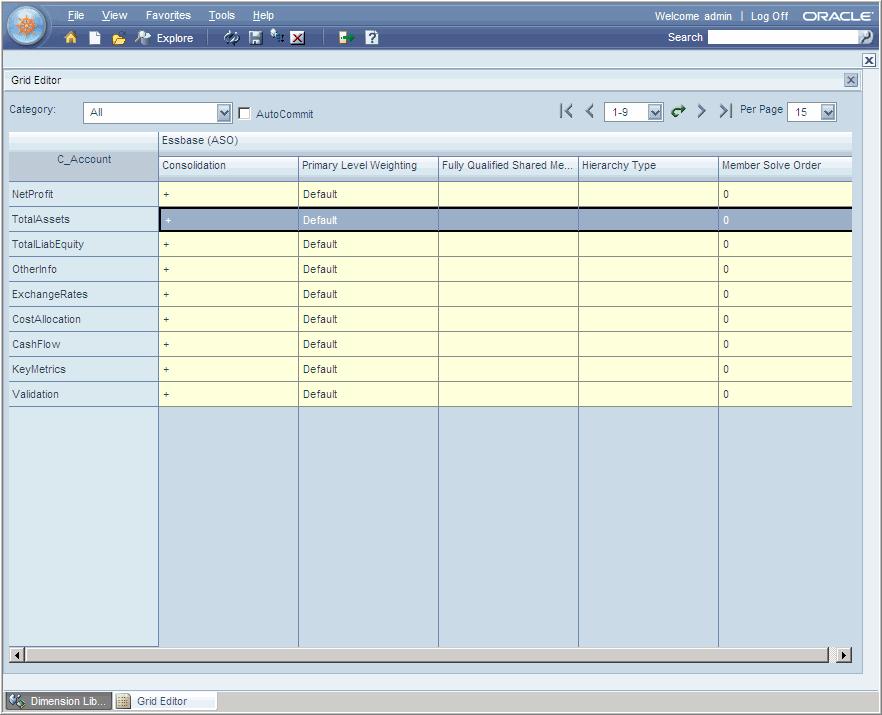 Главное меню Grid Editor