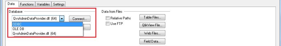 Инструмент настройки OLE DB и ODBC в QlikView