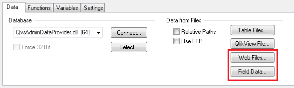 Web Files и Field Data в QlikView