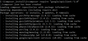 """composer require """"google/apiclient:^2.0"""""""